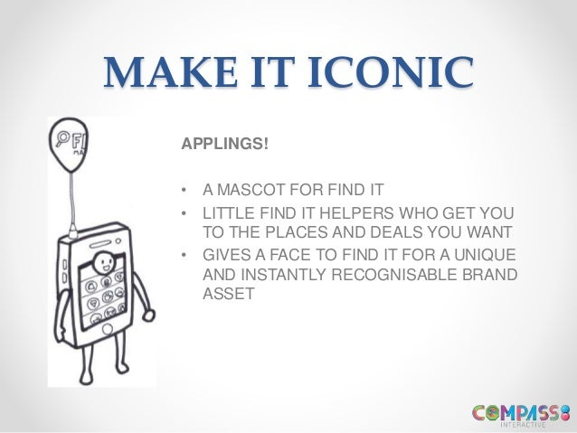MAKE IT ICONIC APPLINGS! • A MASCOT FOR FIND IT • LITTLE FIND IT HELPERS WHO GET YOU TO THE PLACES AND DEALS YOU WANT • GI...