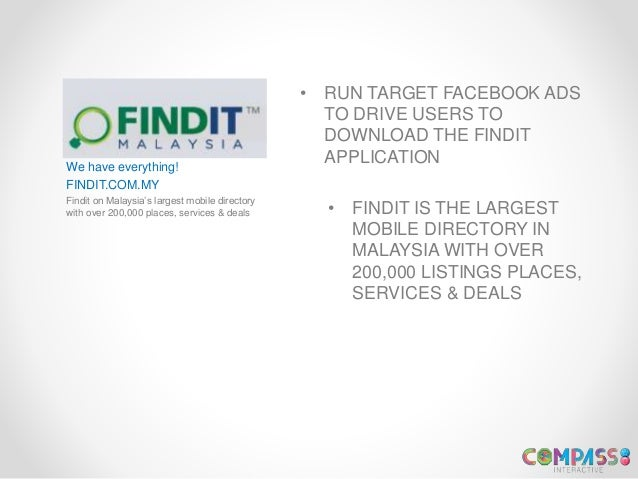 We have everything! FINDIT.COM.MY Findit on Malaysia's largest mobile directory with over 200,000 places, services & deals...