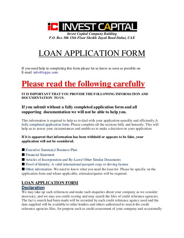 Icpjsc loan application form icpjsc loan application form invest capital company building po box 306 15th floor sheikh zayed road dubai wajeb Image collections