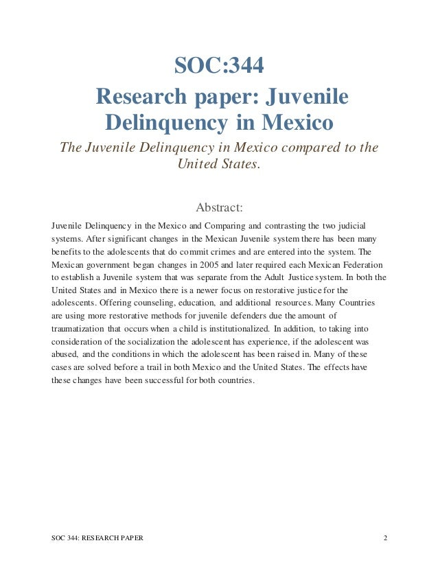 research paper on juvenile delinquency Juvenile delinquency is a continuous problem in the united states it is also considered an issue that all of society needs to take part in trying to solve or at least diminish despite the number of social controls that can aid in dealing with delinquency much of the burden is placed on the juvenile justice system.
