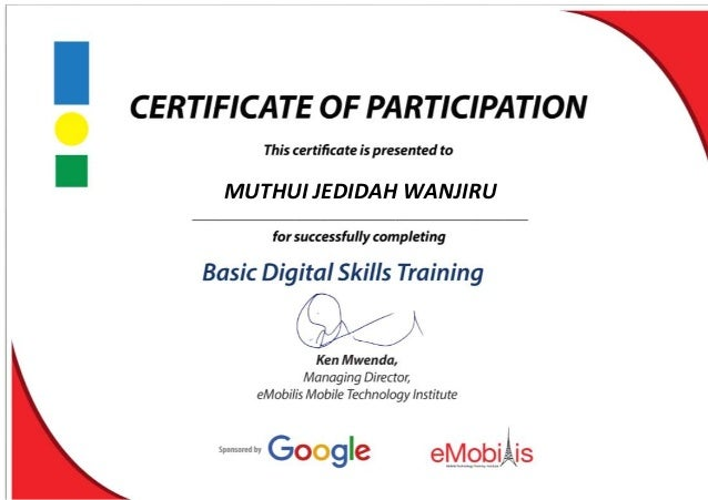 Google training certificate of participation for Certificate of participation template ppt