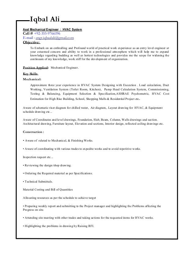 Iqbal Ali Mechanical Engineer CV