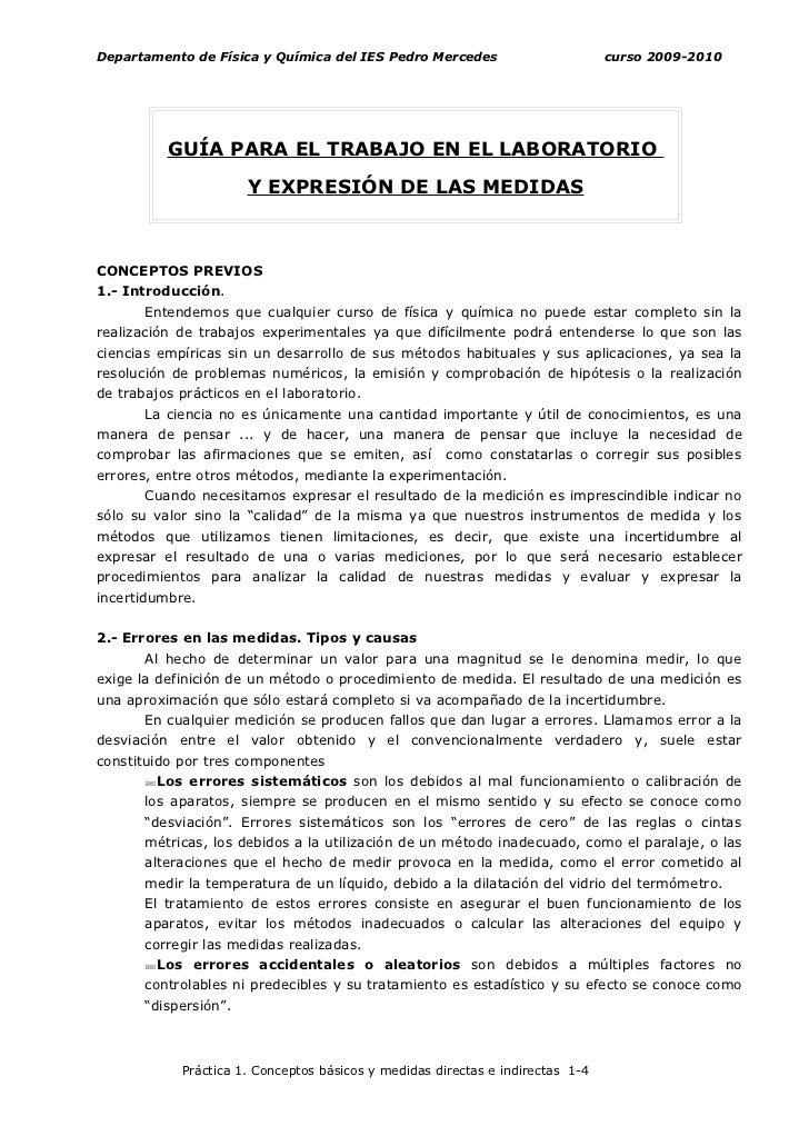 Departamento de Física y Química del IES Pedro Mercedes                         curso 2009-2010               GUÍA PARA EL...