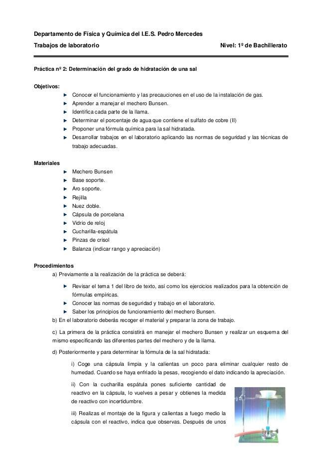 Departamento de Física y Química del I.E.S. Pedro Mercedes Trabajos de laboratorio Nivel: 1º de Bachillerato Práctica nº 2...