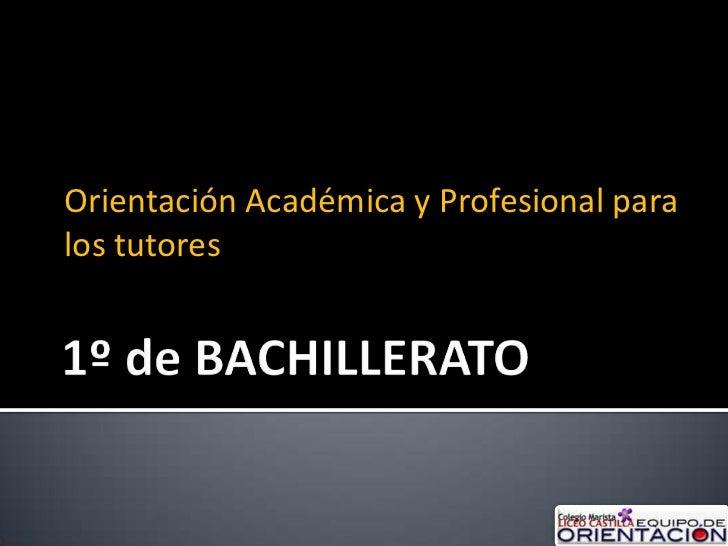 Orientación Académica y Profesional paralos tutores