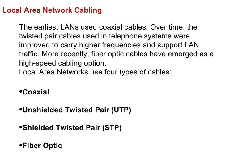 Local Area Network Cabling    The earliest LANs used coaxial cables. Over time, the    twisted pair cables used in telepho...