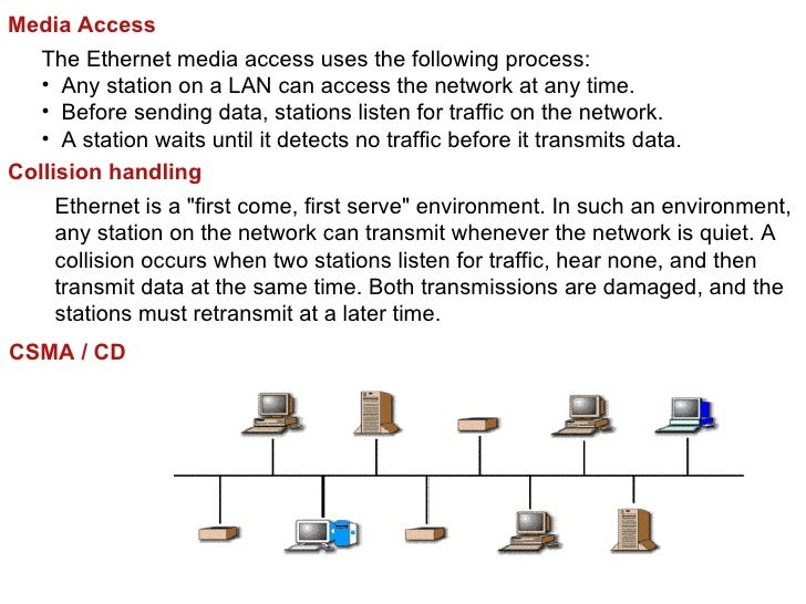 Media Access   The Ethernet media access uses the following process:   • Any station on a LAN can access the network at an...