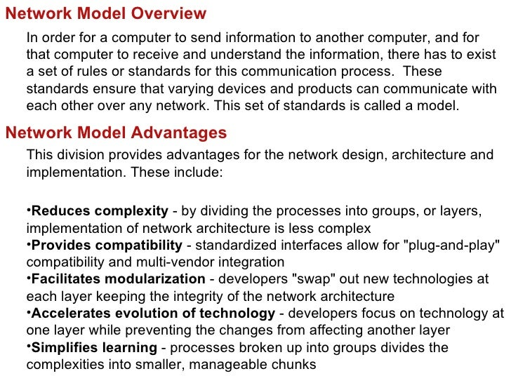 Network Model Overview  In order for a computer to send information to another computer, and for  that computer to receive...