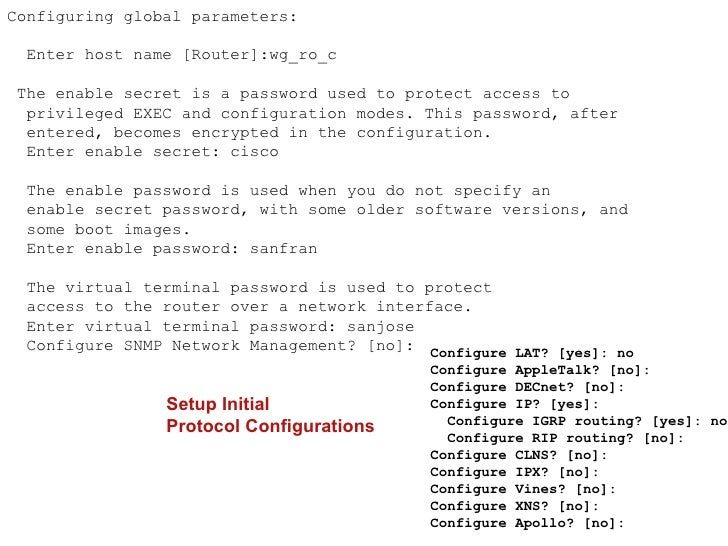 Router Privileged-ModeCommand List    Router#?    Exec commands:      access-enable      Create a temporary Access-List en...