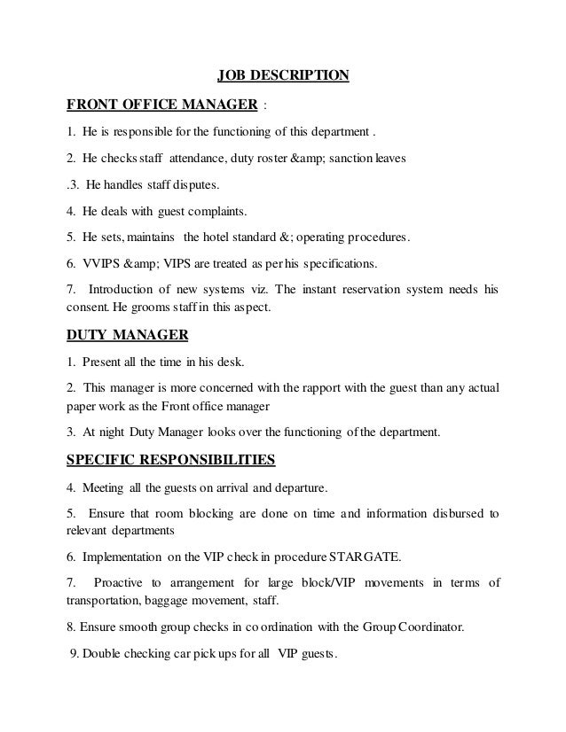 Training report 14 15 - Office manager assistant job description ...