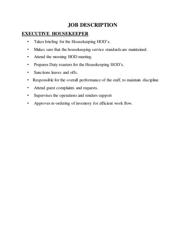 attendant casual 48 job description executive housekeeper - Profile Title For Housekeeper
