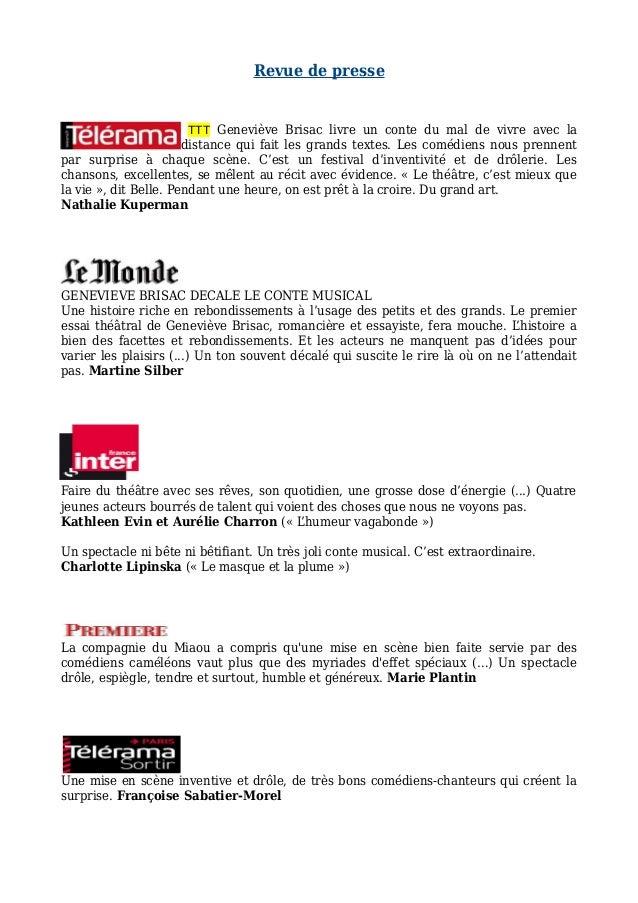 Revue de presse TTT Geneviève Brisac livre un conte du mal de vivre avec la distance qui fait les grands textes. Les coméd...