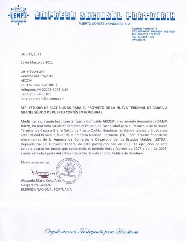 ENP Puerto Cortes Dry Bulk Terminal FS Reference letter