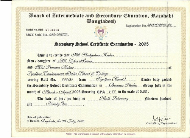 SECONDARY SCHOOL CERTIFICATE