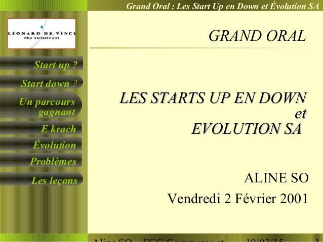 Grand Oral : Les Start Up en Down et Évolution SA Un parcours gagnant E krach Évolution Problèmes Start down ? Start up ? ...