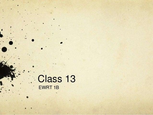 Class 13EWRT 1B