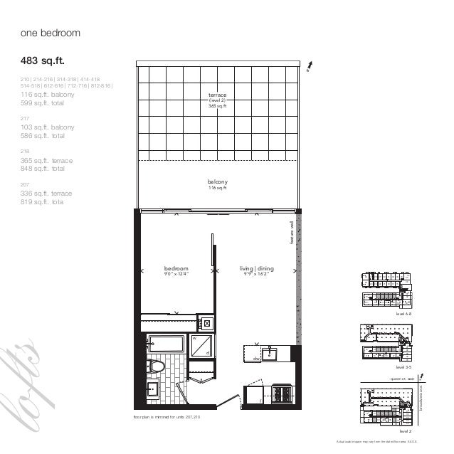 """one bedroom f d w dw living   dining 9'9"""" x 16'2"""" featurewall balcony 116 sq.ft terrace (level 2) 365 sq.ft bedroom 9'0"""" x..."""