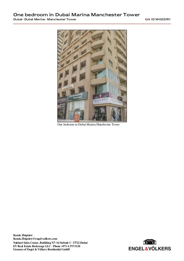 1 Bedroom Apartment In Dubai Marina Manchester Tower