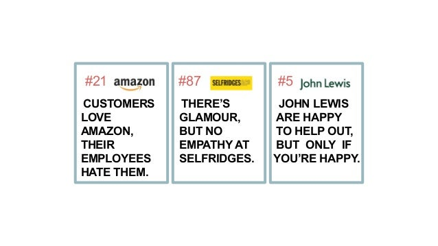 #21 CUSTOMERS LOVE AMAZON, THEIR EMPLOYEES HATE THEM. #87 THERE'S GLAMOUR, BUT NO EMPATHY AT SELFRIDGES. #5 JOHN LEWIS ARE...