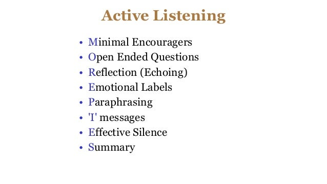 Active Listening • Minimal Encouragers • Open Ended Questions • Reflection (Echoing) • Emotional Labels • Paraphrasing • '...