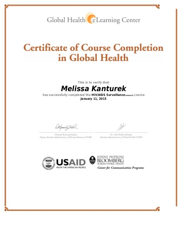 Global Health Certificate