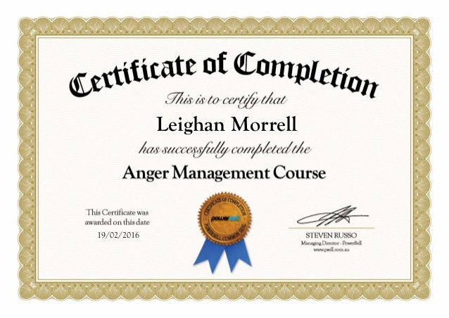 Satisfactory image inside printable anger management certificate