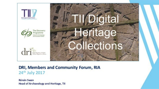 DRI, Members and Community Forum, RIA 24th July 2017 Rónán Swan Head of Archaeology and Heritage, TII