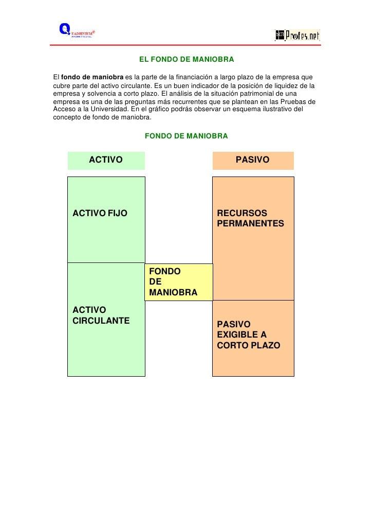 EL FONDO DE MANIOBRA  El fondo de maniobra es la parte de la financiación a largo plazo de la empresa que cubre parte del ...