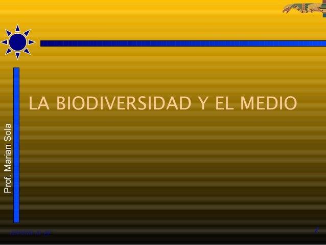 LA BIODIVERSIDAD Y EL MEDIOProf. Marian Sola          12/02/13 13:49                          1