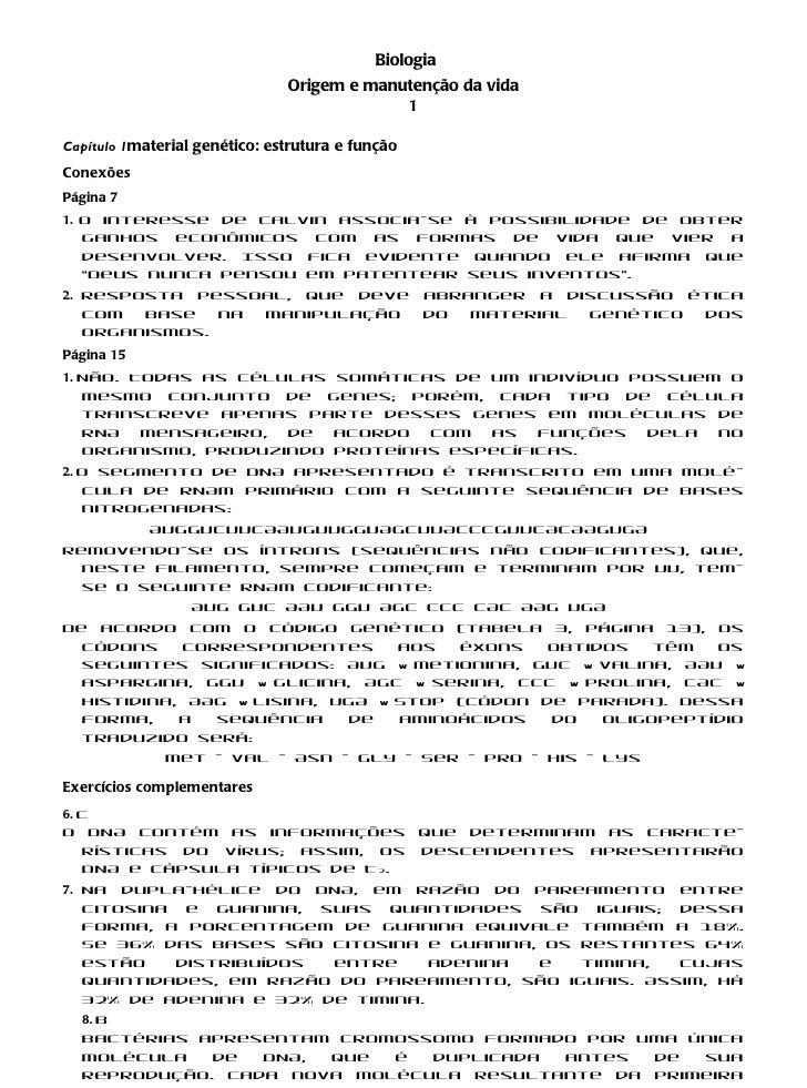 Biologia                               Origem e manutenção da vida                                            1Capítulo 1m...
