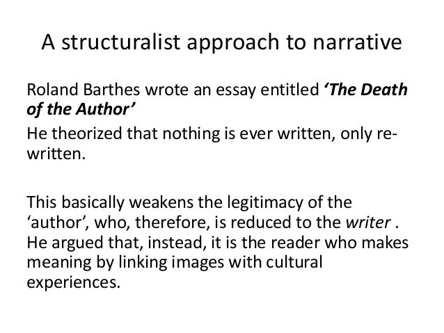 roland barthes1968 essay he death of the author Abstract: roland barthes's the death of the author is a foundational text for scholars who are addressing questions of authorship and textual ownership in english studies and its neighboring disciplines.