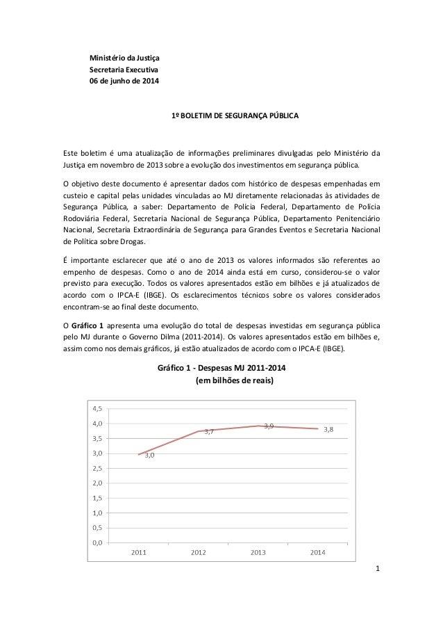 1 Ministério da Justiça Secretaria Executiva 06 de junho de 2014 1º BOLETIM DE SEGURANÇA PÚBLICA Este boletim é uma atuali...