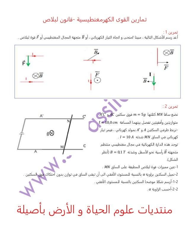 تمارينالكهرمغنطيسية القوى-قانونلبلاص تمرين1: مبينا ، التالية الأشكال رسم أعد𝐼و منحىأو ، الكهر...