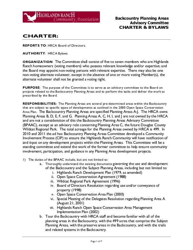 Backcountry Planning Areas Advisory Committee CHARTER & BYLAWS Page 1 of 7 CHARTER: REPORTS TO: HRCA Board of Directors. A...