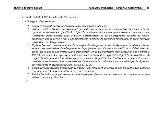 COMMUNE DE ERGUE-GABERIC  PLAN LOCAL D'URBANISME – RAPPORT DE PRESENTATION  10  Extrait de l'article R. 123-2 du Code de l...