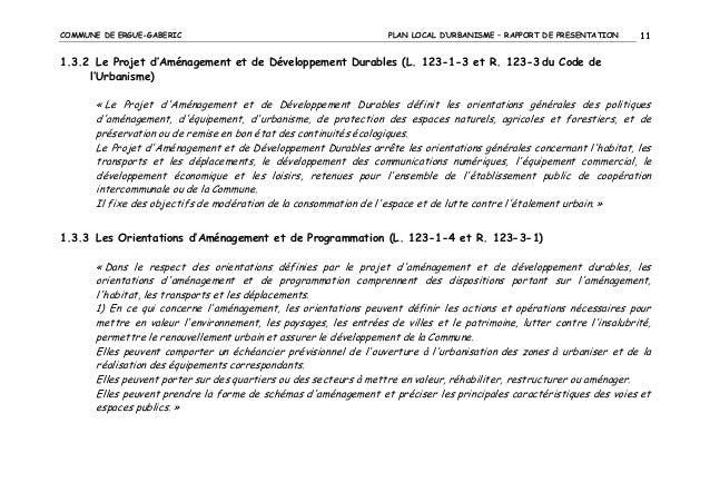 COMMUNE DE ERGUE-GABERIC  PLAN LOCAL D'URBANISME – RAPPORT DE PRESENTATION  11  1.3.2 Le Projet d'Aménagement et de Dévelo...