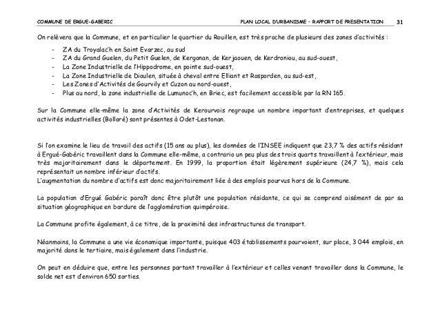COMMUNE DE ERGUE-GABERIC  PLAN LOCAL D'URBANISME – RAPPORT DE PRESENTATION  31  On relèvera que la Commune, et en particul...