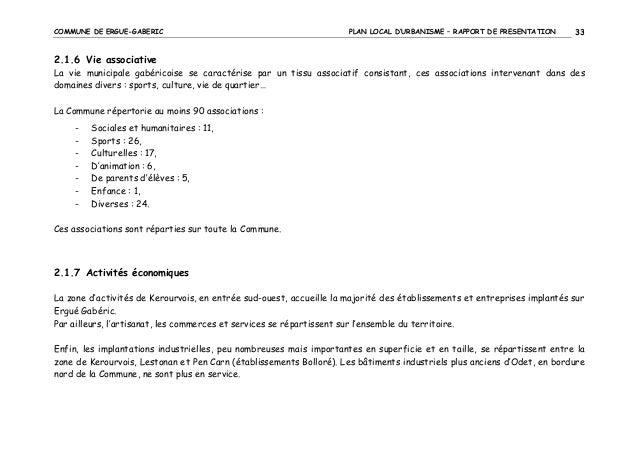 COMMUNE DE ERGUE-GABERIC  PLAN LOCAL D'URBANISME – RAPPORT DE PRESENTATION  33  2.1.6 Vie associative La vie municipale ga...