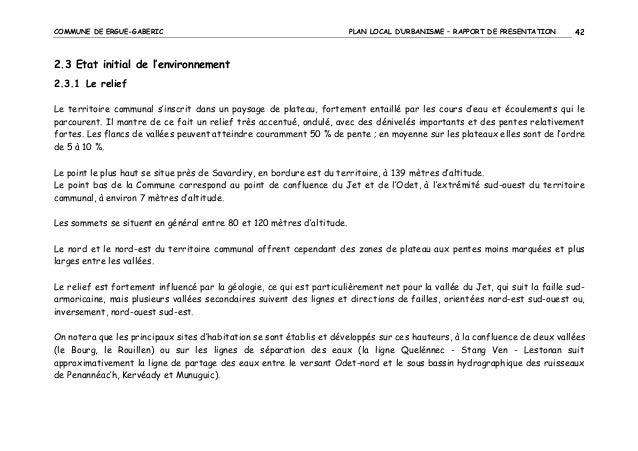 COMMUNE DE ERGUE-GABERIC  PLAN LOCAL D'URBANISME – RAPPORT DE PRESENTATION  42  2.3 Etat initial de l'environnement 2.3.1 ...