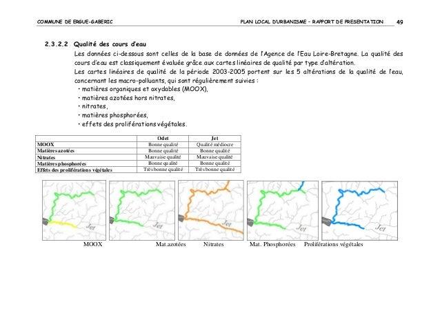 COMMUNE DE ERGUE-GABERIC  PLAN LOCAL D'URBANISME – RAPPORT DE PRESENTATION  49  2.3.2.2 Qualité des cours d'eau Les donnée...