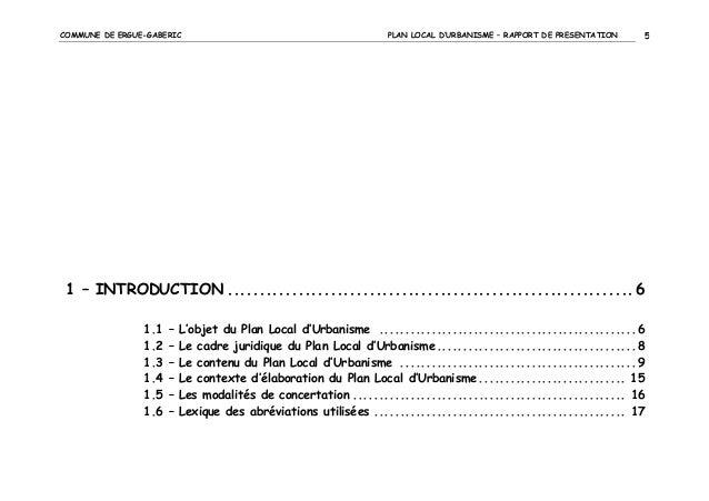 COMMUNE DE ERGUE-GABERIC  PLAN LOCAL D'URBANISME – RAPPORT DE PRESENTATION  5  1 – INTRODUCTION .............................