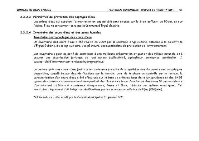 COMMUNE DE ERGUE-GABERIC  PLAN LOCAL D'URBANISME – RAPPORT DE PRESENTATION  50  2.3.2.3 Périmètres de protection des capta...
