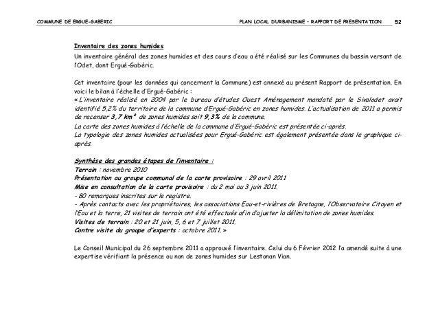 COMMUNE DE ERGUE-GABERIC  PLAN LOCAL D'URBANISME – RAPPORT DE PRESENTATION  52  Inventaire des zones humides Un inventaire...