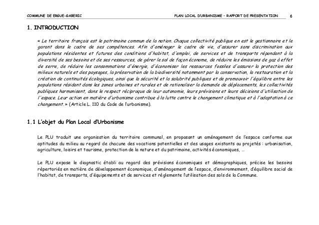 COMMUNE DE ERGUE-GABERIC  PLAN LOCAL D'URBANISME – RAPPORT DE PRESENTATION  6  1. INTRODUCTION « Le territoire français es...