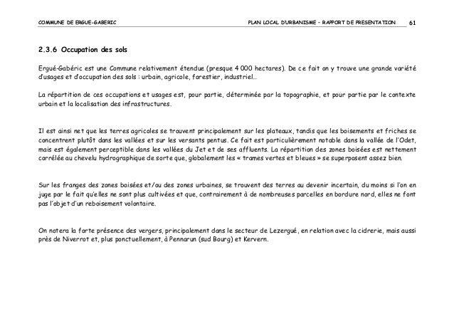 COMMUNE DE ERGUE-GABERIC  PLAN LOCAL D'URBANISME – RAPPORT DE PRESENTATION  61  2.3.6 Occupation des sols Ergué-Gabéric es...