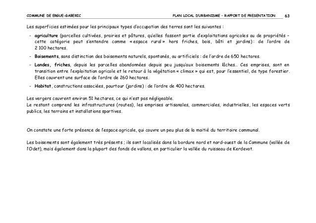 COMMUNE DE ERGUE-GABERIC  PLAN LOCAL D'URBANISME – RAPPORT DE PRESENTATION  63  Les superficies estimées pour les principa...