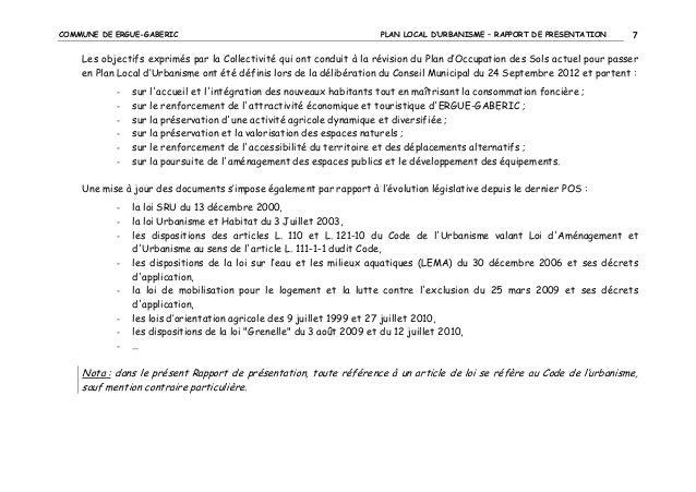 COMMUNE DE ERGUE-GABERIC  PLAN LOCAL D'URBANISME – RAPPORT DE PRESENTATION  7  Les objectifs exprimés par la Collectivité ...