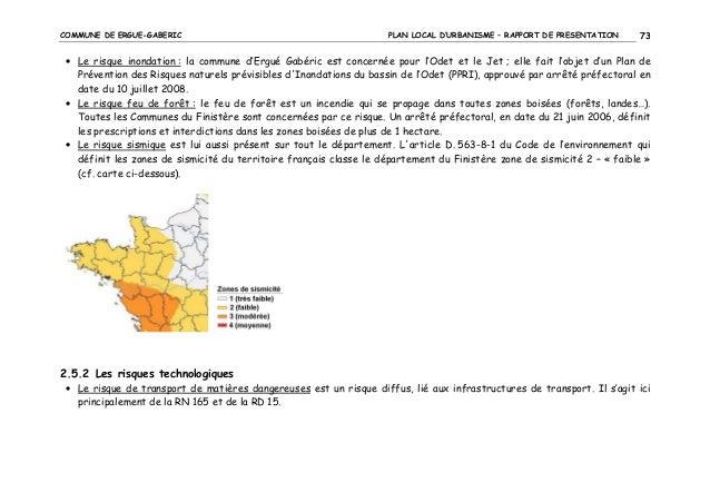 COMMUNE DE ERGUE-GABERIC  PLAN LOCAL D'URBANISME – RAPPORT DE PRESENTATION  73  • Le risque inondation : la commune d'Ergu...