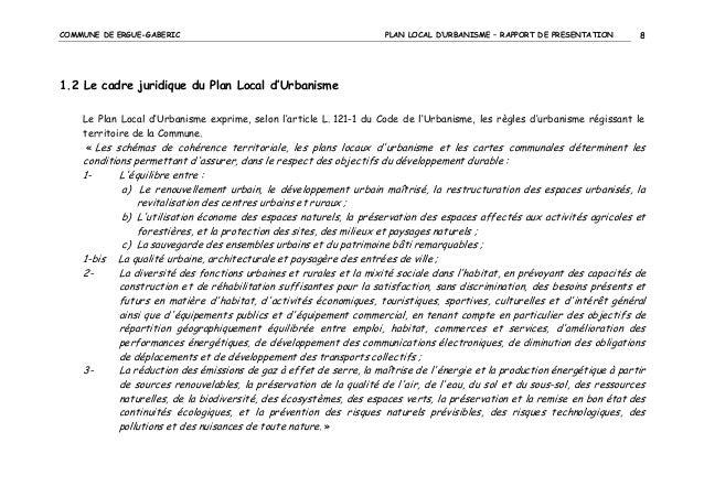 COMMUNE DE ERGUE-GABERIC  PLAN LOCAL D'URBANISME – RAPPORT DE PRESENTATION  8  1.2 Le cadre juridique du Plan Local d'Urba...