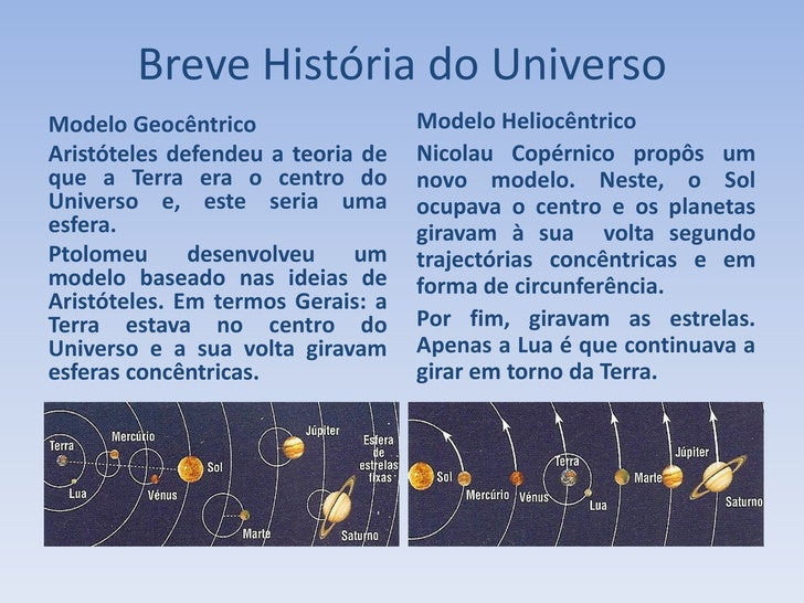 Breve História do Universo Modelo Geocêntrico                 Modelo Heliocêntrico Aristóteles defendeu a teoria de   Nico...